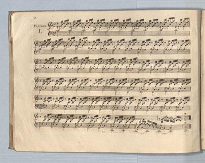 J.S. Bach: Wohltemperiertes Klavier Teil 1, Präludium C-Dur. Erstdruck. Bonn : Simrock, 1801. Foto: Stadtbibliothek