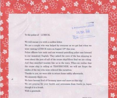 Mit einem Brief bedankte sich das japanische Touristenpaar für die Hilfe der Lübecker Polizei. Foto: Polizei