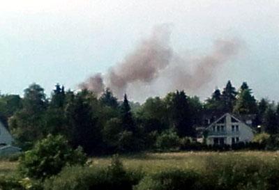 Am frühen Abend bildete sich eine Rauchwolke über Dornbreite. Fotos: Oliver Klink