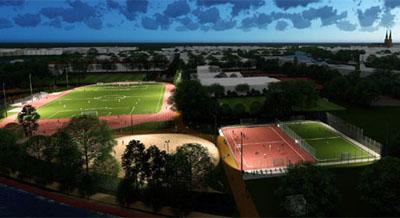 Für den Bau der neuen Sportanlage müssen der Wanderweg und die Fläche für Hunde zeitweise gesperrt werden. Grafik: Büro Ahner + Brehm