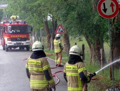 Die erste Übung nach der Corona-Krise: Die FF Israelsdorf übte die Bekämpfung eines Flächenbrandes. Fotos: Harald Denckmann