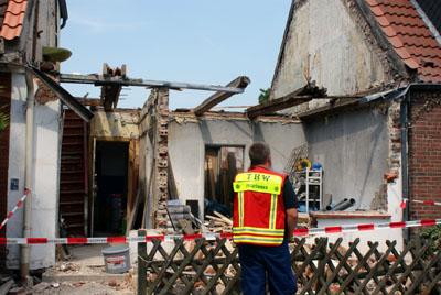 Das Technische Hilfswerk hat die Absicherung der Mauern übernommen. Fotos: Oliver Klink
