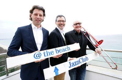 Bürgermeister Robert Wagner, SHMF-Intendant Christian Kuhnt und Nils Landgren stellten bereits im März die Jazz Baltica 2019 in  Timmendorfer Strand vor. Archivfoto: JW