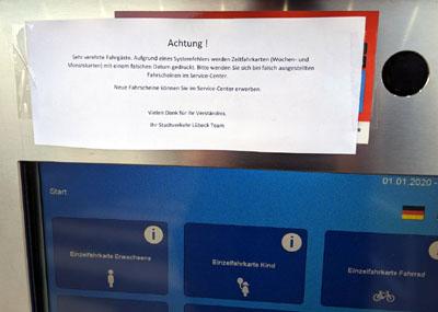 Die Automaten haben seit dem Jahreswechsel ein Problem mit dem Datum. Fotos: TA
