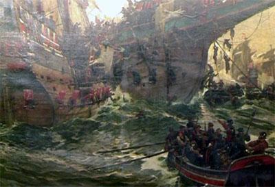 Das große Gemälde im Rathaus erinnert an die Seeschlacht. Es wird jetzt restauriert. Foto: VG/Archiv