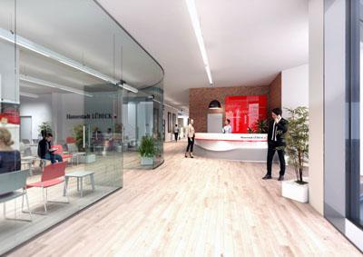 So soll das Stadtteilbüro in der Königpassage aussehen, das Anfang kommenden Jahres eröffnet wird. Grafik: HL/peko planungs GmbH